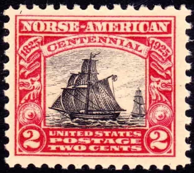 Stamp anniversary 1825 1925 USA America Norway Norge Frimerke jubiluem utvandrer utvandring historie Restauration båt skip seil